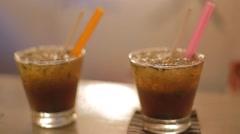 Closeup of 2 mojito drinks Stock Footage
