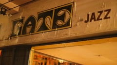 Pan - jazz co-op sign Stock Footage