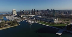 Aerial. Flying over DownTown San Diego. Convention way Stock Footage