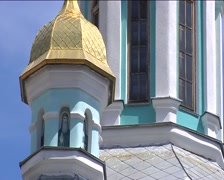 Bell Tower With Golden Cupola Close Up With Semicircular Windows Image on the Stock Footage