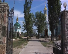 People Men Are Walking Entered to The Church Golden Cupolas of Temple of Stock Footage