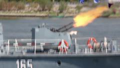 Military vessel on the Danube river during an attack exercise Stock Footage