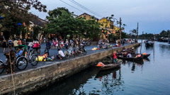 At sunset,the ancient town life in Hoi An, Vietnam. Stock Footage
