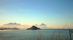 View of island , from Rio de Janeiro's beach Stock Footage