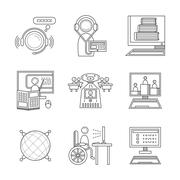 Stock Illustration of Distance education thin line vector icons