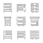 Stoves and ovens thin line vector icons - stock illustration