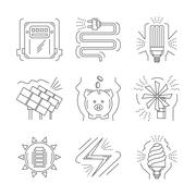 Saving energy thin line vector icons - stock illustration