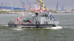 Military vessel on the Danube river in a fire-fighting exercise Stock Footage