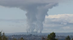 Smoke steam & heat haze rise with Power Station backdrop (Static) Stock Footage