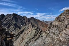 A small portion of the mountain range with peaks Stock Photos