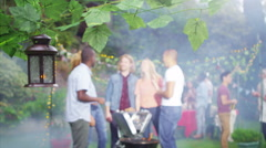 4K Happy group of friends having fun at outdoor bbq Stock Footage