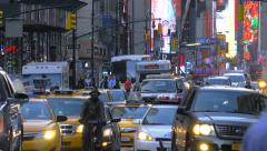 Heavy congested busy jammed street traffic cars rush hour New York City NYC day - stock footage
