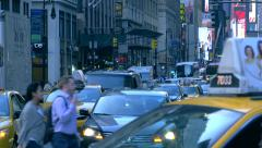 Congested busy street traffic crowded cars Manhattan New York City NYC day - stock footage