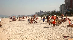 People at the beach  in Rio de Janeiro. Stock Footage