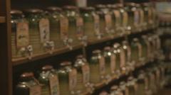 Side angle - sake bottles for tasting Stock Footage