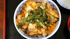 Closeup - okinawan good chicken rice bowl Stock Footage