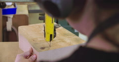 Bespoke Shoemaker Cutting Wooden Last For Shoe Using Jigsaw Stock Footage