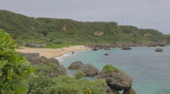 Zoom out of paradise beach Okinawa Stock Footage