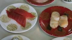 Closeup fresh sushi and sahimi from okinawa Stock Footage