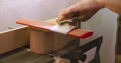 Bespoke Shoemaker Shaping Wooden Last For Shoe Using Jigsaw Stock Footage
