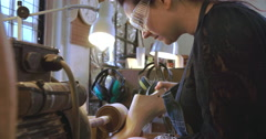 Bespoke Shoemaker Smoothing Wooden Last For Shoe On Sander Stock Footage