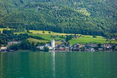 Sankt Wolfgang at lake Wolfgangsee - stock photo
