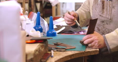 Bespoke Shoemaker Stitching Together Leather Pieces For Shoe Stock Footage