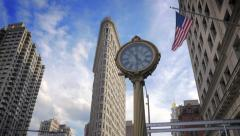 Flatiron Building Cast Iron Street Clock New York City NYC architecture landmark Stock Footage