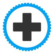 Plus flat blue and gray colors round stamp icon Stock Illustration