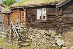 Traditional timber house of copper mines town of Roros, Norway. Stock Photos