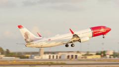 Commercial Plane Taking Off at Majorca Airport Stock Footage