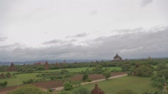 An aerial pan of the temples, stupas, and Pagodas Stock Footage