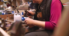 Bespoke Shoemaker Pinning Leather Together To Make Shoe Stock Footage