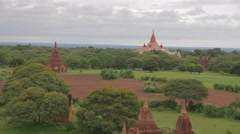 Aerial view of the Ananda temple Stock Footage