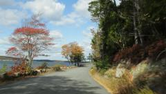 Acadia National Park driving along Somes Sound in Autumn Stock Footage