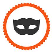Privacy Mask flat orange and gray colors round stamp icon Stock Illustration