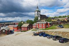 View to the traditional wooden houses in Roros, Norway. - stock photo