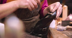 Bespoke Shoemaker Measuring And Cutting Leather For Shoe Stock Footage