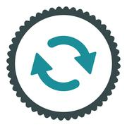 Refresh flat soft blue colors round stamp icon Stock Illustration