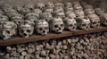 Skulls panning in Charnel House at Hallstatt Austria HD Footage