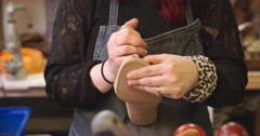Bespoke Shoemaker Measuring Customer's Foot For Shoe Stock Footage