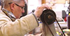 Bespoke Shoemaker Staining And Polishing Leather Of Shoe Stock Footage