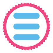 Stack flat pink and blue colors round stamp icon Stock Illustration