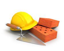 Bricks, trowel and a yellow plastic helmet Stock Illustration