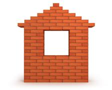 Abstract house made from orange bricks front view Stock Illustration