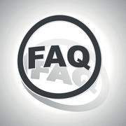 FAQ sign sticker, curved - stock illustration
