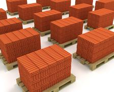 Lot of stacks of orange bricks with pallets isolated - stock illustration