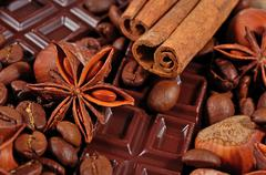 Coffee, chocolate, star anise, cinnamon sticks and hazelnuts - stock photo