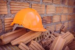 construction helmet safety for protect worker from accident in construction s - stock photo