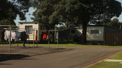 Caravans, Permanent resident sites in a caravan park Australia Stock Footage